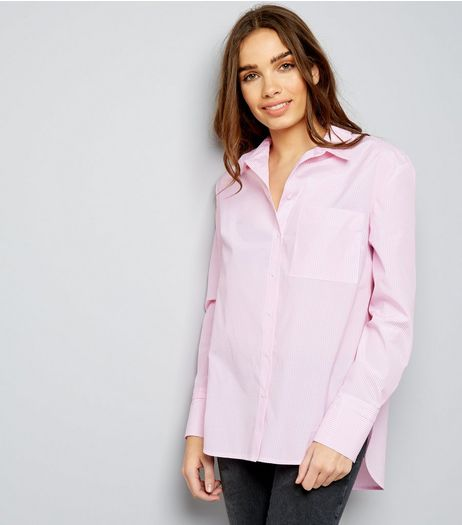Pink Wide Cuff Stripe Shirt  | New Look