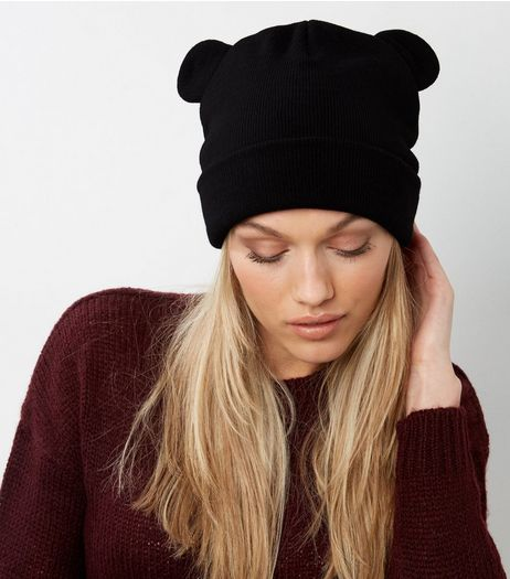 Black Bear Ear Beanie Hat | New Look