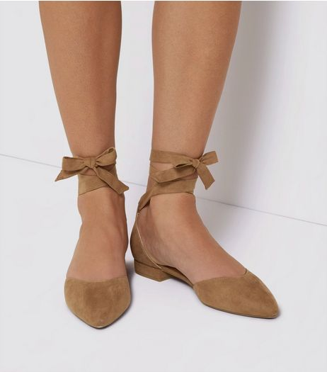 Mink Suedette Ankle Tie Pointed Flats | New Look