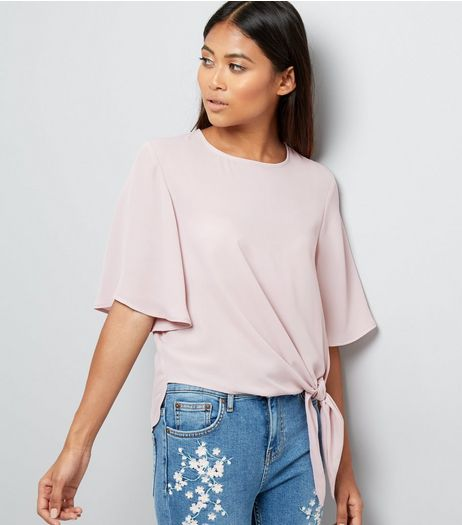 Petite Lilac Tie Front Flutter Sleeve Top | New Look