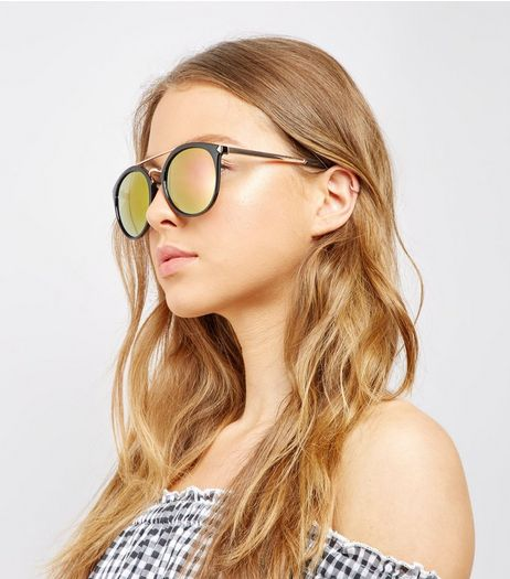 Black Round Double Bar Sunglasses | New Look