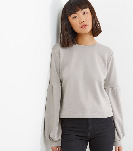 Dark Grey Balloon Sleeve Sweater | New Look