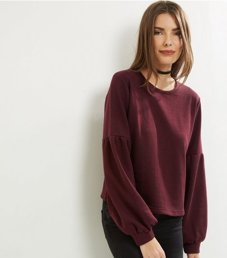 Burgundy Gathered Balloon Sleeve Sweater | New Look
