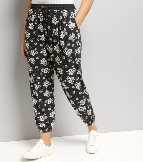 Curves Black Floral Joggers | New Look