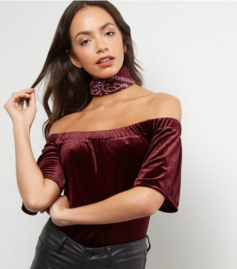 Blue Vanilla Burgundy Velvet Bardot Bodysuit | New Look