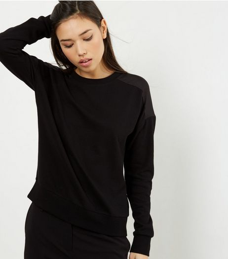 Black Sateen Back Long Sleeve Sweater  | New Look