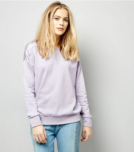 Lilac Sateen Back Long Sleeve Sweater | New Look