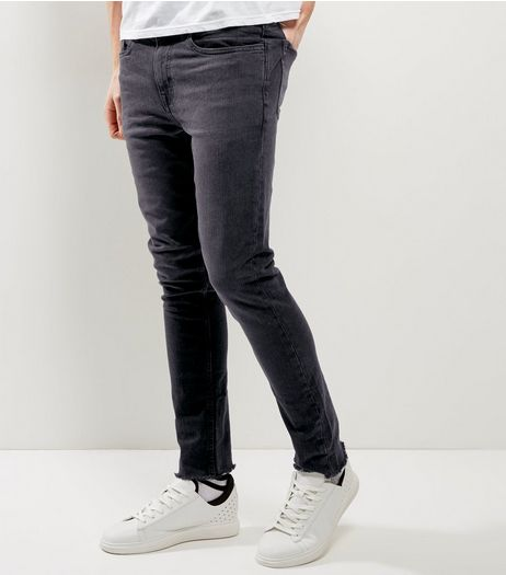 Black Washed Fray Hem Skinny Jeans | New Look