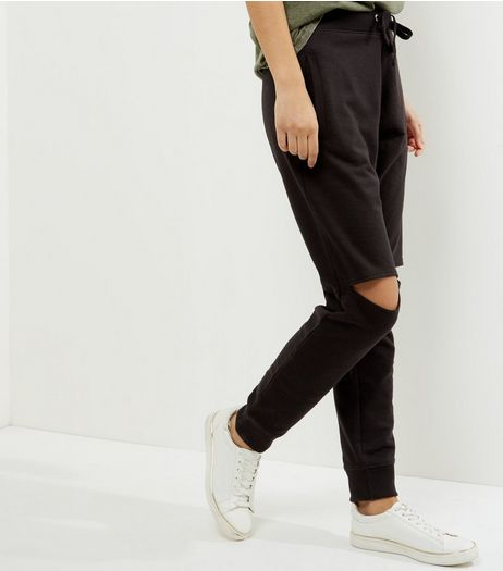 Black Ripped Knee Joggers  | New Look