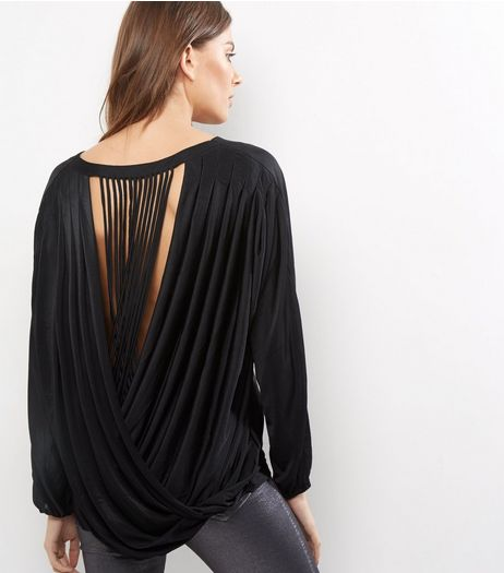 Blue Vanilla Black Open Wrap Back Top | New Look