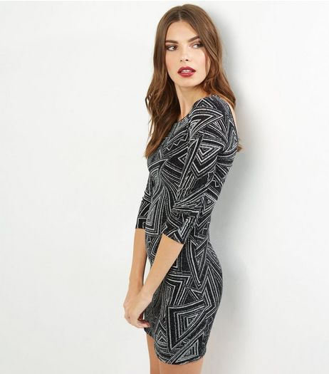 Blue Vanilla Black Abstract Glitter Print Dress | New Look