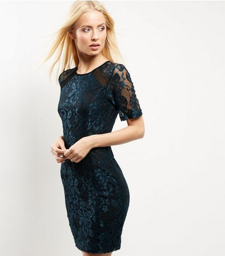 Blue Vanilla Blue Mesh Panel Lace Dress | New Look