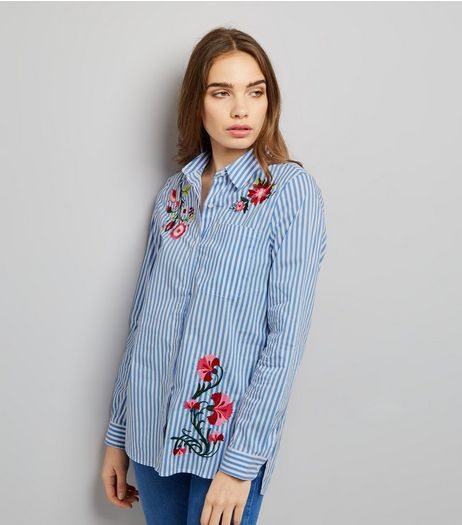 Blue Vanilla Blue Stripe Floral Embroidered Shirt | New Look