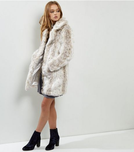 Blue Vanilla White Leopard Print Faux Fur Coat | New Look