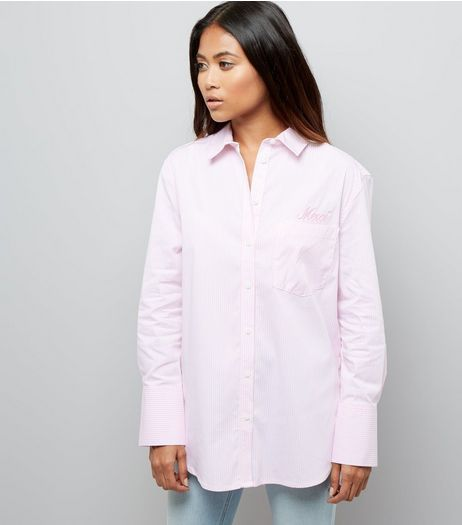 Petite Pink Stripe Wide Sleeve Shirt | New Look