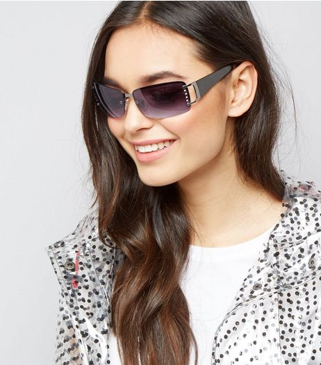 Black Diamante Side Rimless Sunglasses | New Look