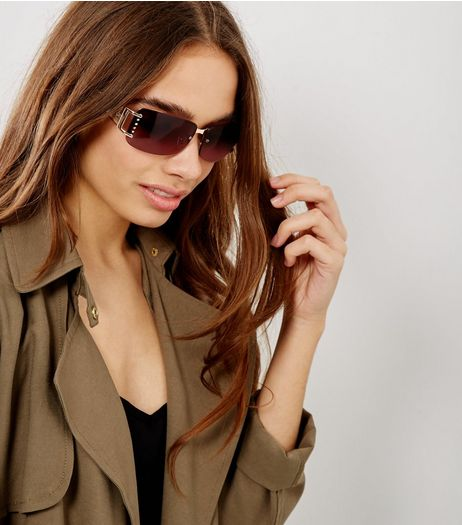 Brown Rimless Diamante Side Sunglasses | New Look