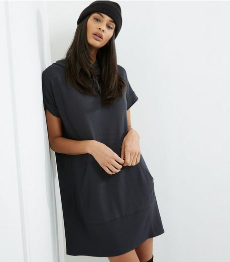 Dark Grey Short Sleeve Longline Hoodie  | New Look