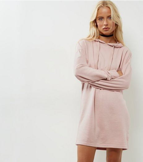 Mid Pink Hooded Sweater Dress | New Look