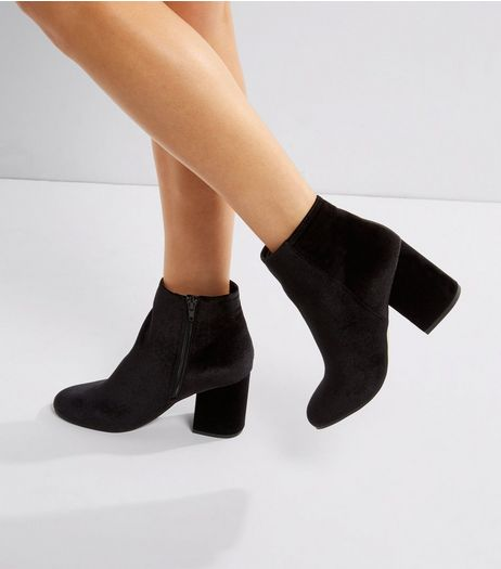 Black Velvet Block Heeled Boots | New Look