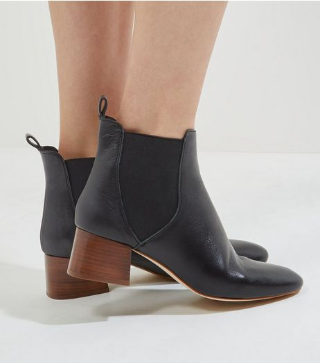 Black Leather Contrast Heel Chelsea Boots | New Look