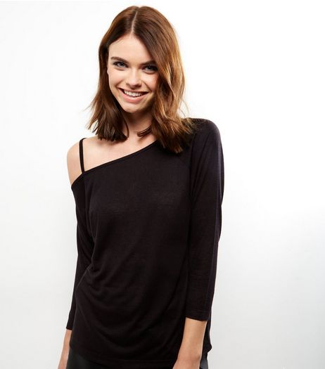 Black Off The Shoulder Long Sleeve Top | New Look