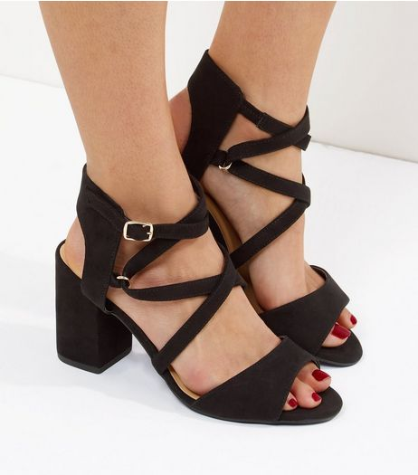 Black Wide Fit Suedette Block Heel Sandals | New Look