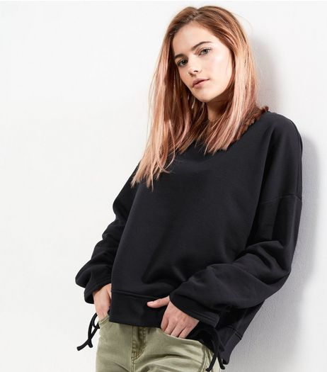 Black Ruched Sleeve Sweater  | New Look