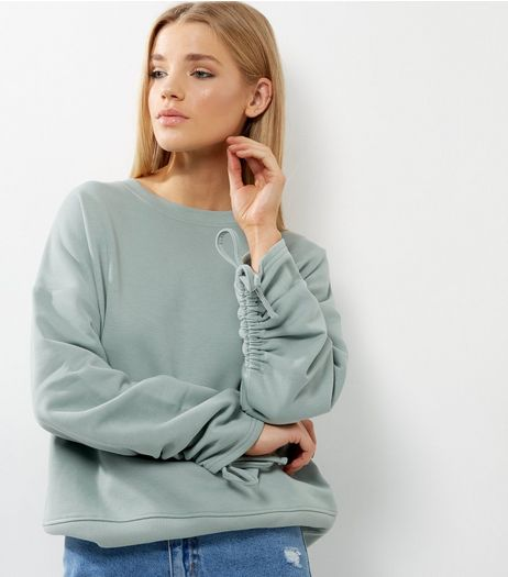 Green Ruched Sleeve Sweater  | New Look