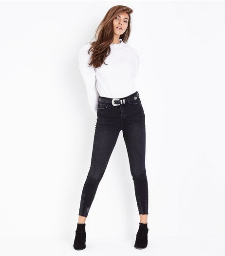 Black Fray Hem Skinny Jeans  | New Look
