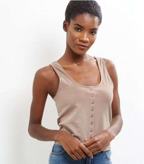 Light Brown Button Front Vest  | New Look