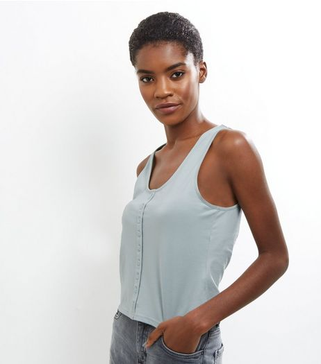 Mint Green Button Front Vest  | New Look