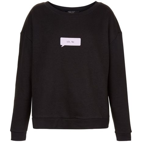 Teens Black LOL No Speech Bubble Print Sweater  | New Look