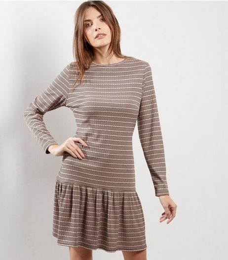 Pink Stripe Long Sleeve Peplum Hem Dress | New Look