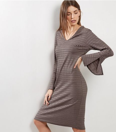 Light Pink Stripe V Neck Flared Sleeve Midi Dress | New Look
