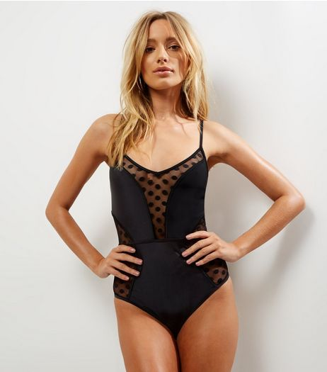 Black Spot Mesh Panel Swimsuit | New Look