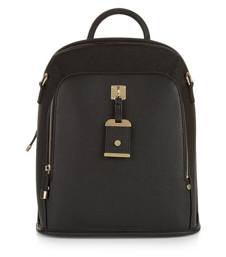 Black Cross Hatch Backpack | New Look