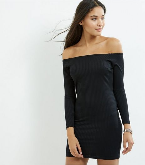 Black Ribbed Bardot Neck Bodycon Dress | New Look