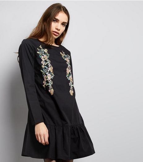 Black Floral Embroidered Drop Hem Tunic Dress | New Look