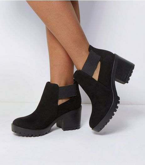 Wide Fit Black Elasticated Strap Ankle Boots | New Look