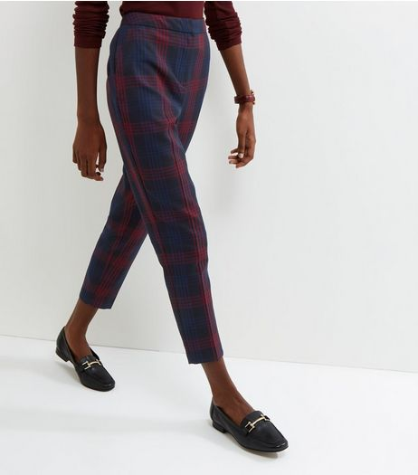 Navy Check Print Trousers | New Look