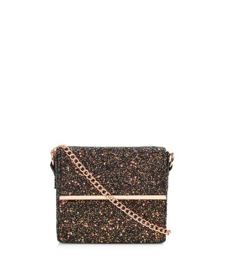 Black Iridescent Glitter Mini Box Bag | New Look