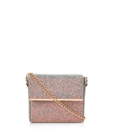 Pale Blue Iridescent Glitter Mini Box Bag  | New Look