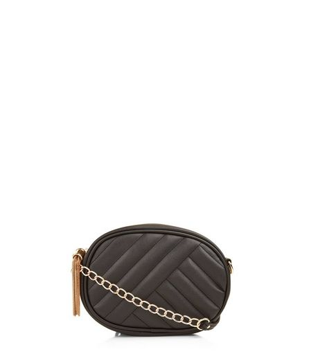 Black Quilted Tassel Trim Bag | New Look