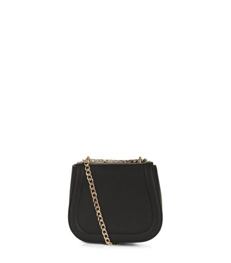 Black Snakeskin Textured Chain Strap Bag | New Look