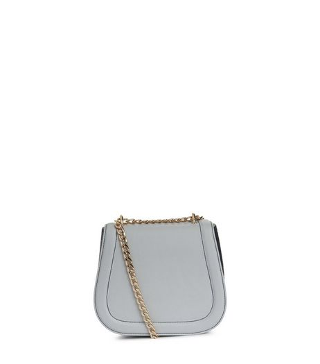 Blue Snakeskin Textured Chain Strap Bag | New Look