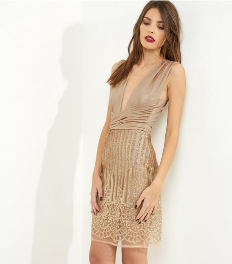 Parisian Gold Plunge V Neck Tie Waist Glitter Dress | New Look