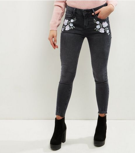 Petite Dark Grey Floral Embroidered Raw Hem Jeans | New Look
