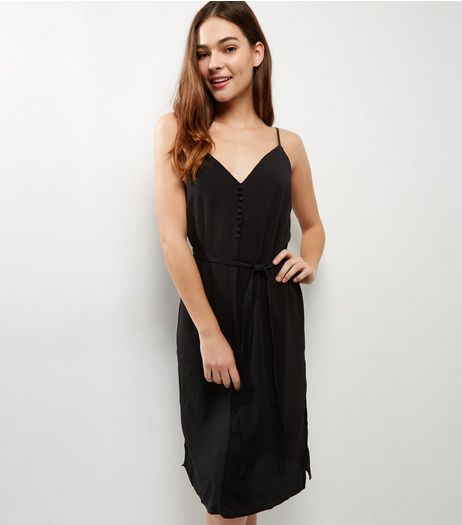 Black Button Front Slip Dress | New Look