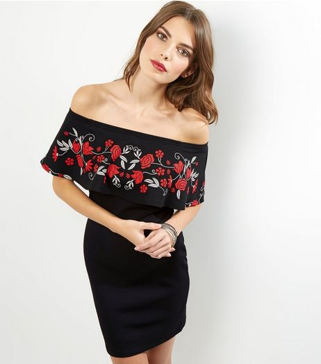 Cameo Rose Embroidered Effect Bardot Neck Dress | New Look